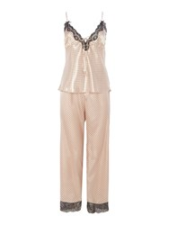 Lipsy Silky Cami And Trousers Polka Dot Pj Set Pink