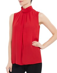 Ellen Tracy Pleated Mockneck Shell Red