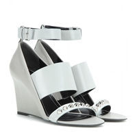 Balenciaga Embellished Leather Wedge Sandals Gris Perle