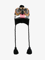 Gucci Crystal Embellished Check Cap With Flaps Pink Multi Coloured Black Orange Denim
