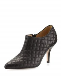 Neiman Marcus Koren Quilted Leather Bootie Black