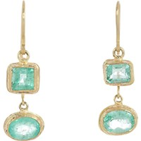 Judy Geib Women's Emerald And Gold Double Drop Earrings No Color