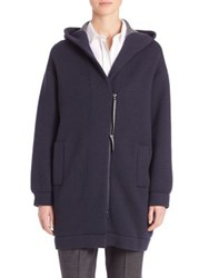 Brunello Cucinelli Double Faced Cashmere Hooded Cardigan Navy