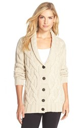 Women's Ugg Australia 'Margie' Cable Knit Shawl Collar Cardigan Cream Heather