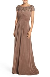 La Femme Women's Embellished Ruched Net Jersey Gown