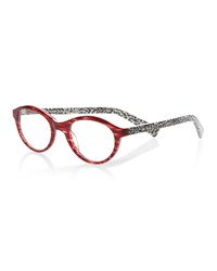 Eyebobs Soft Kitty Round Patterned Readers Red Black White Red Black White