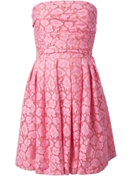 Moschino Cheap And Chic Strapless Lace Dress Pink And Purple