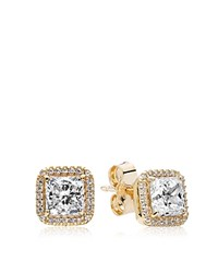 Pandora Design Stud Earrings 14K Gold And Cubic Zirconia Timeless Elegance