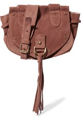 See By Chloe Collins Small Suede And Textured Leather Shoulder Bag Brick