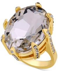 Guess Gold Tone Crystal Cocktail Ring