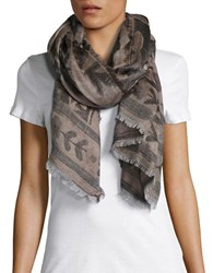 Collection 18 Patterned Fringe Scarf Grey