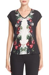 Ted Baker Women's London 'Bejewelled Shadows' Print Front V Neck Tee