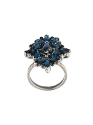 Marni Floral Strass Ring Blue