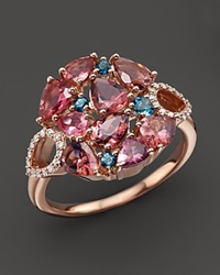Roberto Coin 18K Rose Gold Fantasia London Blue Topaz And Pink Tourmaline Ring Rose Blue