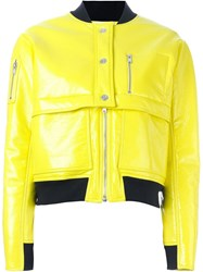 Courra Ges Varnished Bomber Jacket Yellow And Orange