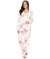 Carole Hochman Three Piece Pajama Set Holiday Bouquet Women's Pajama Sets White