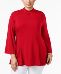 Ny Collection Plus Size Mock Turtleneck Swing Top Scarlet Sage