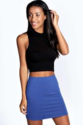 Boohoo Mini Bodycon Jersey Skirt Cobalt