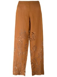 Romeo Gigli Vintage Laser Cut Trousers Nude And Neutrals