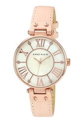 Anne Klein Round Roman Numeral Watch 34Mm Pink