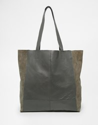 Warehouse Leather And Suede Shopper Bag Grey