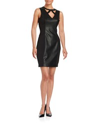 Guess Faux Leather Sheath Dress Black