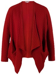 Chesca Jacquard Pocket Drape Shrug Red