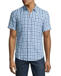 Original Penguin Short Sleeve Linen Gingham Shirt Blue