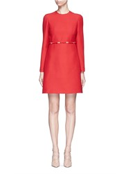 Valentino Bow Applique Mesh Waist Crepe Couture Dress Red