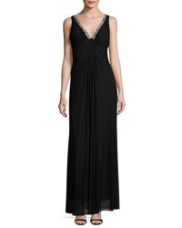 Marina Shirred Bodice Gown Blk