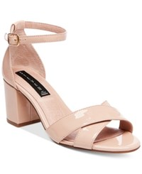 Steve Madden Steven By Voomme Ankle Strap Block Heel Dress Sandals Women's Shoes Nude Patent
