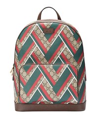 Gucci Gg Chevron Canvas Backpack Red Green