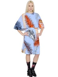 Emilio Pucci Feathers Printed Solid Jersey Dress