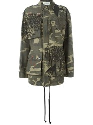 Faith Connexion Camouflage Print Cargo Jacket Green