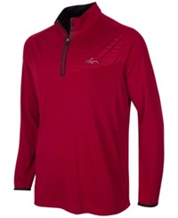 Greg Norman For Tasso Elba Embossed Quarter Zip Shirt Only At Macy's Bright Crimson