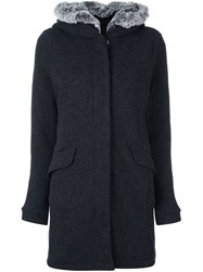 Woolrich Fuzz Collared Parka Coat Grey