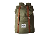 Herschel Retreat Deep Litchen Green Tan Leather Backpack Bags Olive