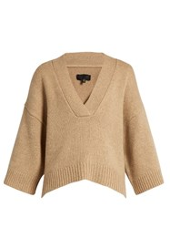 Nili Lotan Logan V Neck Cashmere Blend Sweater Beige