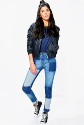 Boohoo Mid Rise Patchwork Skinny Jeans Mid Blue