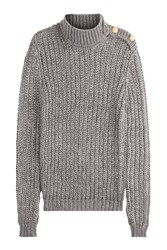 Balmain Mohair Blend Turtleneck Pullover With Embossed Buttons Silver