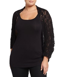 Alberto Makali Plus Long Sleeve Crocheted Cocoon Cardigan Black
