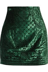 Balmain Embossed Velvet Mini Skirt Green