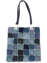 Jamin Puech Patchwork Denim Squares Big Tote Blue