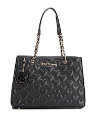 Betsey Johnson Bee Mine Quilted Heart Tote Black