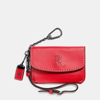 Coach Mickey Envelope Key Pouch In Glovetanned Leather Mettalic Red