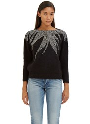 Saint Laurent Crystal Embellished Mohair Sweater Black