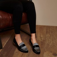 River Island Womens Ri Studio Black And Grey Satin Loafers