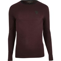 River Island Mens Maroon Print Muscle Fit Long Sleeve T Shirt