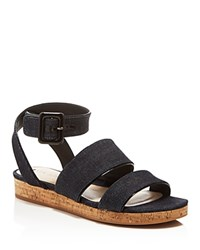 Via Spiga Dianne Denim Ankle Strap Cork Platform Sandals Indigo Black