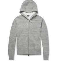 Tom Ford Zip Up Knitted Cotton Blend Hoodie Gray
